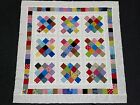 Scrappy Squares in a Square Colorful Baby Quilt Top