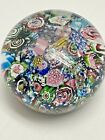 LARGE ANTIQUE CLICHY SCRAMBLED MILLEFIORI END OF THE DAY PAPERWEIGHT