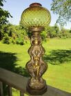 24 Mid Century Modern Lady Table Lamp W Vintage Amber Glass Light Shade