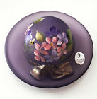 FENTON GLASS HAT SATIN FROSTED AMETHYST LAVENDER HAND PAINTED NUMBERED LTD 55