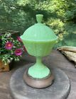 VINTAGE Fenton Uranium Custard Glass Pedestal Compote With Finial Top Covered