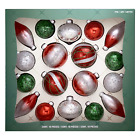 Hand Decorated Glass Ornaments Red Green 18 piece