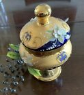 Bohemian Czech blue glass candy dish with pedestral