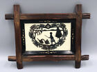 Antique VICTORIAN Signed Paper Cut Out SILHOUETTE Carved EBONIZED Wood Frame