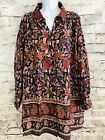 Vermont Country Store Sz 2x Navy Tan Rust Floral Cotton Roll Sleeve Tunic Blouse