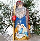 Wooden Hand carved Santa Claus Figurine 9 hand painted Nativity scene