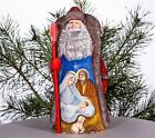 Wooden Hand carved Santa Claus 9 hand painted Nativity scene Christmas decor