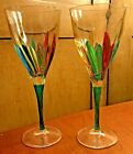 Pair Murano Glass Zecchin Style Wine Goblets Made in Italy Multi Color