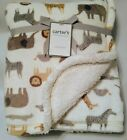 Carters Safari Animals Baby Blanket White Brown Gray Soft Lovey Zoo New NWT