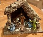 Vintage Nativity Set w Stable 10 pieces LOT Fontanini NICE Detail 4 inch Figures