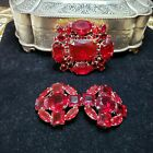 Vintage ruby glass brooch with belt buckle set from Old Czech