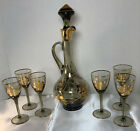 Mid Century Smokey Glass Wine Cordial Decanter W 6 Cordial Glasses Gold Floral