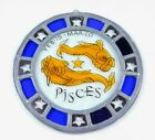 Pieces 8 Zodiac Stained Glass Suncatcher Hanging Round Blue Gold Star