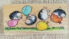 Hedgehogs BALLOON MADNESS Wood Rubber Stamp 2001 MARGARET SHERRY Penny Black