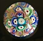 VINTAGE LARGE MILLEFIORI ART GLASS PAPERWEIGHT ESTATE FIND GREAT CANE WORK