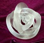 Art Glass Paperweight Twisted Glass Rope Knot Sculpture Clear Ribbed Fusion