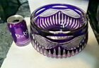 PURPLE CUT TO CLEAR ART GLASS BOWL POLAND CRYSTAL LARGE MINT