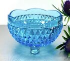 Vintage Indiana Glass Diamond Point Ice Blue Bowl Sauce Set Of 2 Dishes