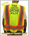 FAA CERTIFIED COMMERCIAL DRONE PILOT HIGH VISIBILITY SAFETY VEST BLACK DESIGN 5