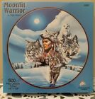 SunsOut Moonlit Warrior Native American Indian Wolf Puzzle 500 Pieces 19x19
