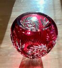 Ruby Red Crystal Cut to clear Heavy Vase 25 opening 5 high 4 base flawless