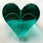 Teal Recycled Glass Heart Paperweight with Fire and Light Siignature