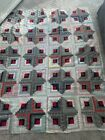 Antique Primitive Log Cabin Quilt Top Red Black Mourning Prints With Flaws