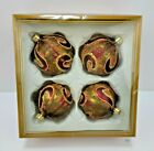70mm Glass Ball Christmas Ornament Paisley Green Red Gold 4 Count Boxed Set