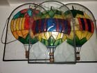 Vintage Stained Glass Hot Air balloon Set of 3 hanging Decorations