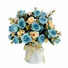 Artificial Rose Bouquets with Ceramics Vase Fake Rose Flowers Light Blue