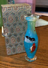 RARE Oriental Mini Painted on Inside Vase Cat Fish With Satin Lined Box