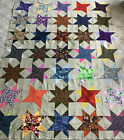 SCRAPPY PATCHWORK QUILT TOP WOVEN STAR PATTERN