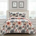 3pc Full Queen Leah Quilt Set Coral Gray Lush Dcor