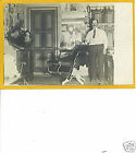 Real Photo Postcard RPPC Barber in Shop w Phonograph