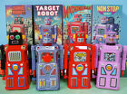 4 TIN WIND UP ROBOTS MACHINE MAN TARGET SONIC MASUDAYA GANG OF FIVE  ROCKET USA