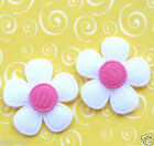 60 x 1 WHITE Padded Felt Flower Appliques w Hot Pink Center for Card Bow ST464H