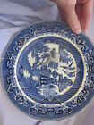 ANTIQUE BUFFALO POTTERY 1911 PLATE SEMI-VITREOUS FLOW Blue WILLOW Asian scene