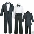 Infant Toddler Kid Teen Boy Wedding Tail Formal Tuxedo Suit Black size S to 20