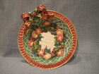 FITZ & FLOYD CHRISTMAS WREATH PATTERN CANDY BOWL WITH BOW