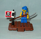 NEW LEGO PIRATE MINIFIGURE ON RAFT WITH OAR, SWORD, & PIRATE FLAG, CAKE TOPPER
