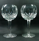 Pair (2) Waterford Glass Crystal LISMORE Balloon Wine Hock Goblets- 7