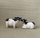 Vintage Black  White Cow and Bull Ceramic Salt Pepper Shaker Set