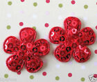 US SELLER 50 x 1 Padded Sequined Felt Spring Flower Appliques for Bows ST506R