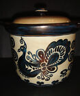 RARE ANTIQUE CAMBRIDGE ARTS POTTERY CROCK HAND PAINTED METALLIC PEACOCKS C. 1940