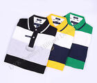 Tommy Hilfiger Men Double Stripe Crest Polo Shirt Short Sleeve Free 0 Shipping