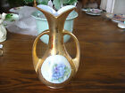 Porcelain Hand Painted Artist Sign Violet Motif Vase 24K Gold Plated w Pattern