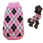 Dog Sweater Pink Plaid XS S M L Coat Puppy Pet Clothes Jacket Jumper Chihuahua