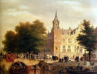Art large Oil painting old town landscape A Sunlit Townview With Figures 24