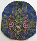 VICTORIAN GLASS SEED BEADED PURSE POUCH FLOWER DESIGN