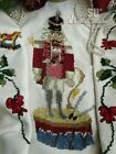 Vtg Xmas HEIRLOOM Needlepoint Tree Skirt SOLDIER Nutcracker Dog Poinsettia GIFT